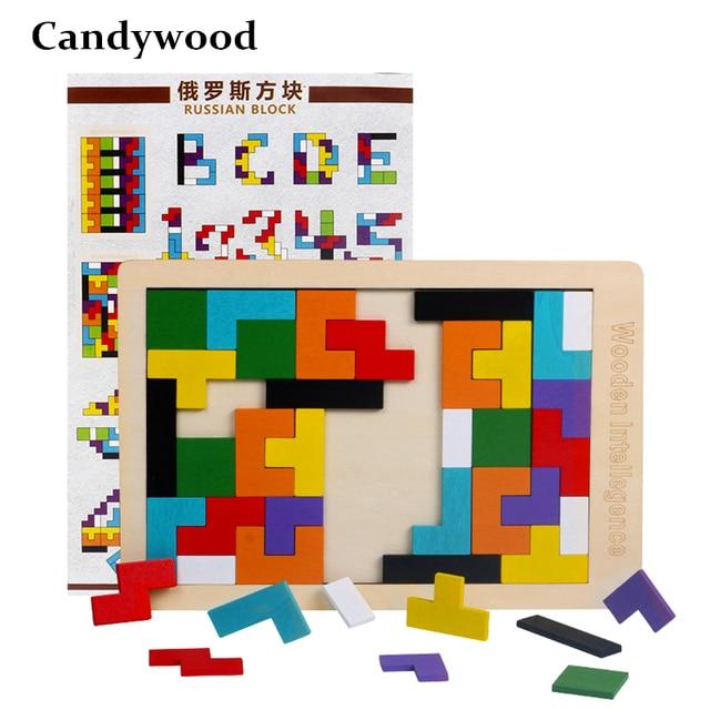 Bebê De Brinquedo de Madeira Quebra-cabeças Tetris Colorido Tangram Jigsaw Board Crianças dos miúdos Magination Intelectual Brinquedos Educativos Para Crianças