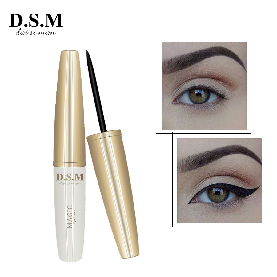 D.S.M Brand New Waterproof Liquid Eyeliner Non-smudge Black Eye Liner Makeup Long-lasting Eyes Beauty Cosmetics Makeup Eyeliner free shipping 3 pp eyeliner liquid empty pipe pointed thin liquid eyeliner colour makeup tools pink black