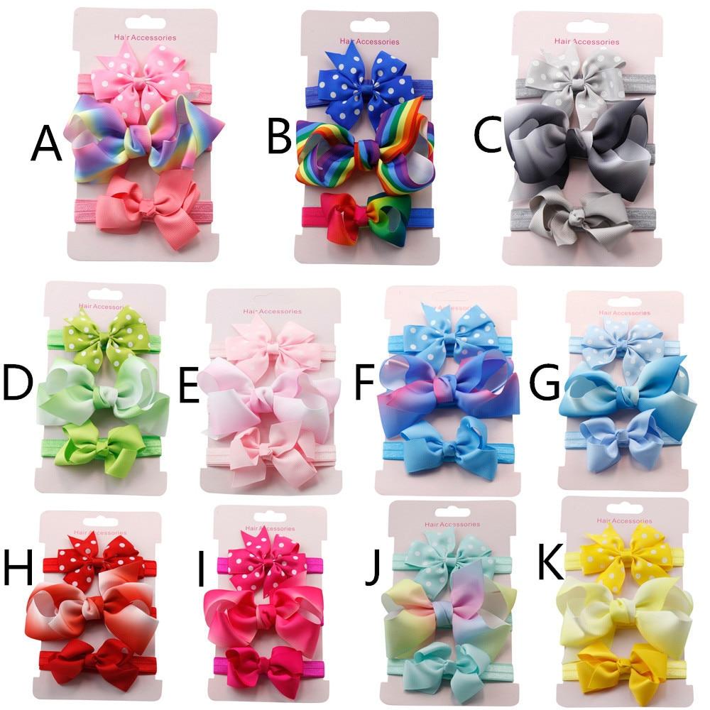 top sale 3Pcs Kids Elastic Floral Headband Hair Girls baby Bowknot Hairband Set baby hair accessories