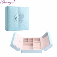 Guanya PU Leather Jewelry Brand Box Earrings Display Packaging Rings Organizer Case Gift Box For Women