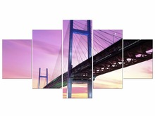 5 Pieces Landscape Purple Bridge Wall Picture Modern The Night of Painting Prints on Canvas Home Decor Framed