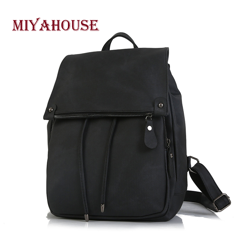Miyahouse Korean New Women Backpacks PU Leather Female Drawstring Rucksack Teenager Girls Small School Bags Candy Color oln trendy female drawstring pu leather backpacks teenage girls small school bags women high quality casual rucksack