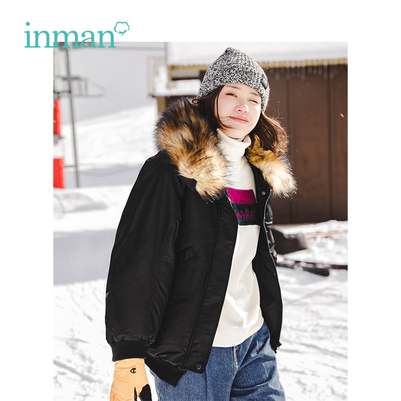 INMANWinter New Arrival Female Fashion Fur Collar Handsome Neutral Style Short Section   Down     Coat