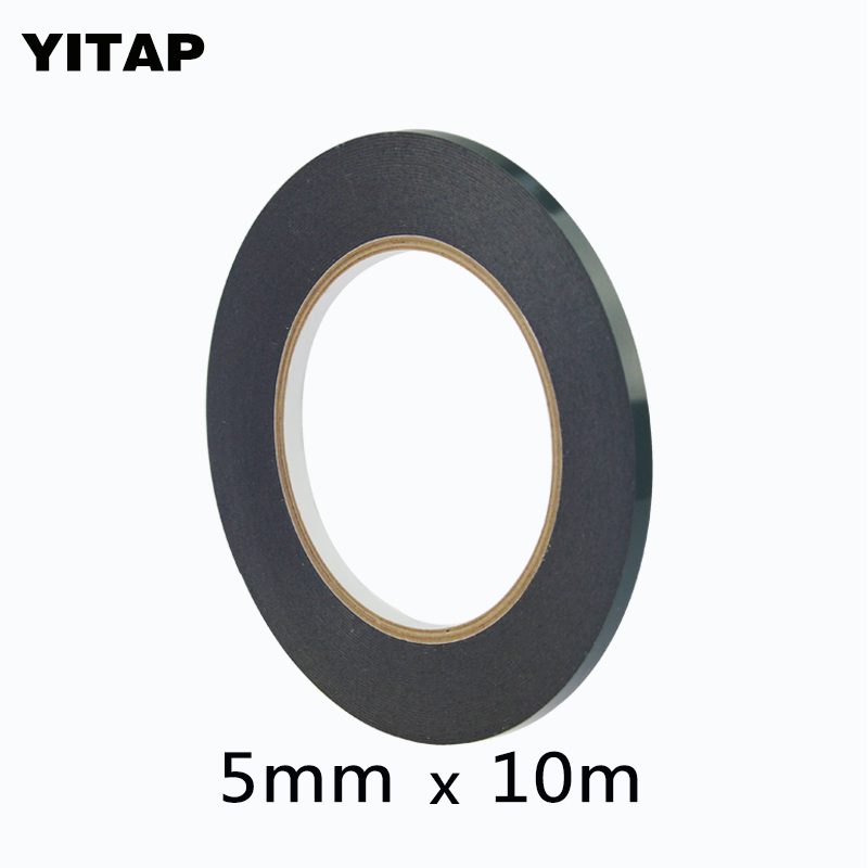 YITAP 5mm*10M*0.5mm Thickness Black Double Sided Adhesive Sponge Foam Tape Gasket for Cellphone Tablet Repair dust proof 25mm x 1mm double sided self adhesive shockproof sponge foam tape 10m length