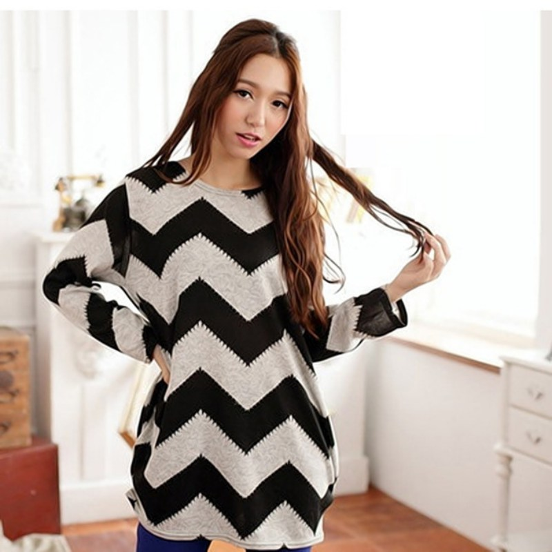 2017 New Women Casual  Stripes Crewneck Pullover Long Sleeve Loose Sweater Knitted Striped Tops S4