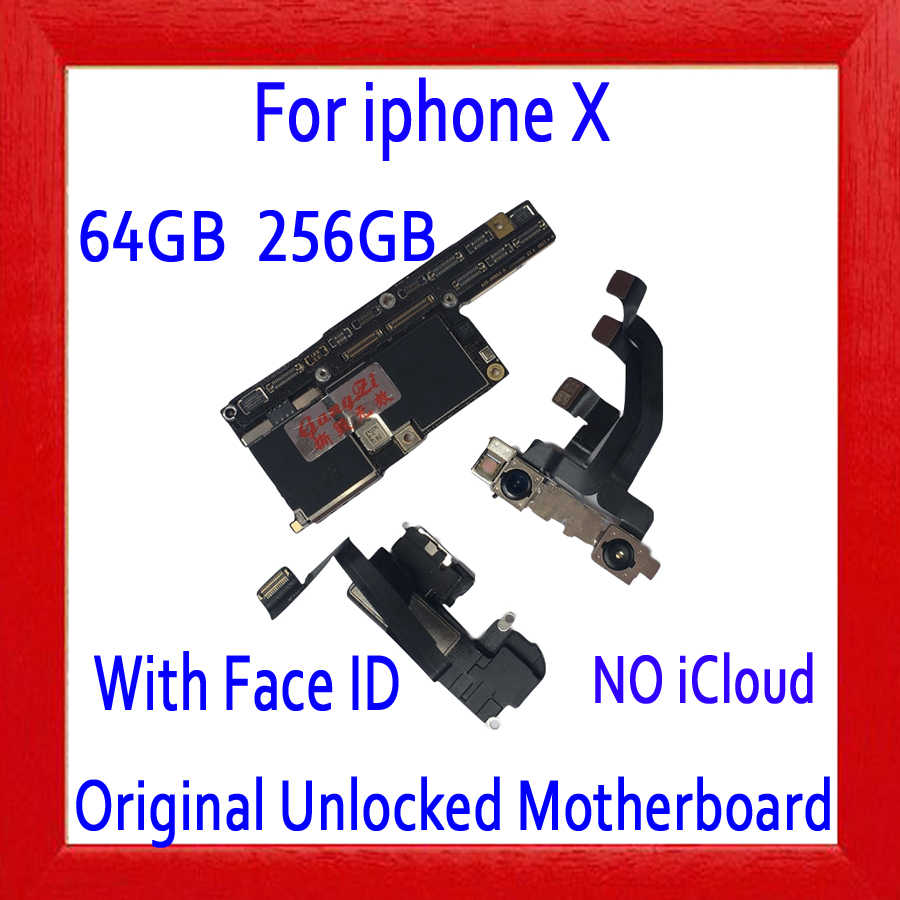 Placa base desbloqueada de fábrica para iphone X placa base, 100% Original para iphone X, tablero sin identificación facial/con identificación facial