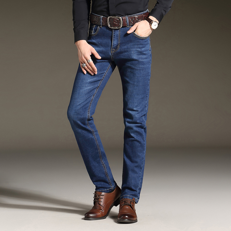 2017 new arrival seasons styke men denim jeans high quality stretch business leisure male trousers small straight slim jeans