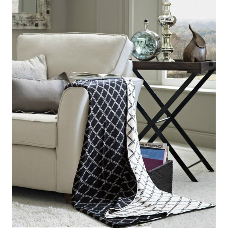 1 PCS 130*160CM 150*200CM Blankets Geometric Plaid Cotton Knitted Wool Leisure Blanket For Home Beds Sofa Portable Blanket V20 new knitted blankets towels luxury hotels home sofa wool blanket europe leisure jacquard cotton blanket decorative bedding
