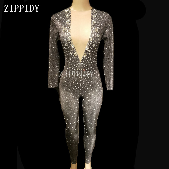 Home Honest Hollow Black Crystals Stretch Jumpsuit Sexy Nightclub Bar Dance Wear Bodysuit Leggings Celebrate Outfit Performance Clothing Latest Fashion