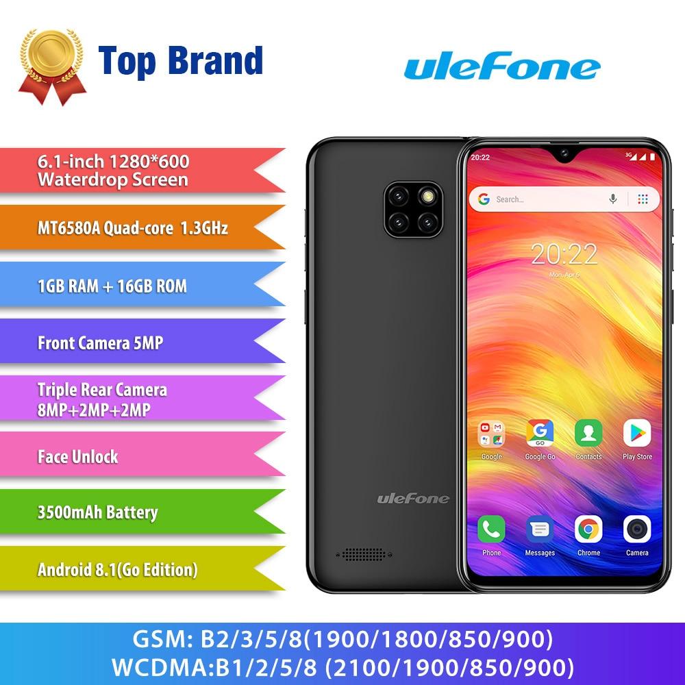 Купить Смартфон Ulefone Note 7 3g 6,1 ''Android 8,1 MT6580A четырехъядерный 1. 3g Hz 1 GB ram 16 GB rom 5.0MP фронтальная камера 3500 mAh мобильный телефон на Алиэкспресс