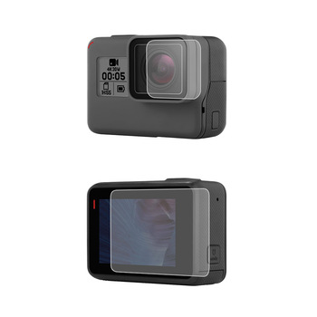 Camera Tempered Glass Protector for GOPRO Hero 5 Hero 6 Hero 7 Action Camera Lens LCD Front Screen Protective Film Black