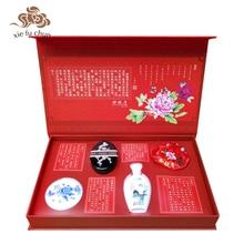 Xiefuchun Chinese Traditional Makeup Set Kit Gift Box Pure Natural Blusher Loose Powder Sachet Hair Cosmetics Make Up Set XFC4