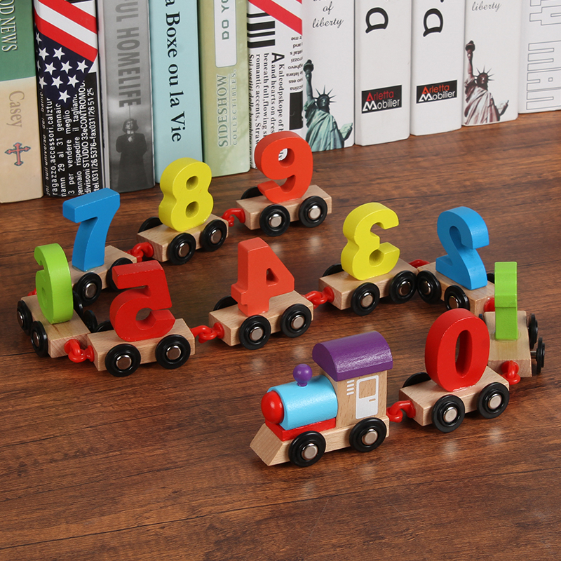 kid's Wooden Digital Train Assembled Wooden Dragged Intelligent Building Block Toy Car Track Train Toy Vehicles