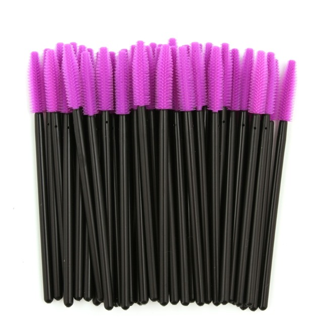 50pcs Disposable Makeup Brushes Silicone Mascara Wands Eyelash