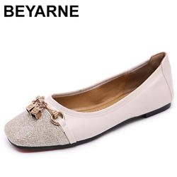 BEYARNE Кожаные туфли на плоской подошве с острым носком с низкой женские лоферы металлические украшения Весна Повседневная обувь Женские