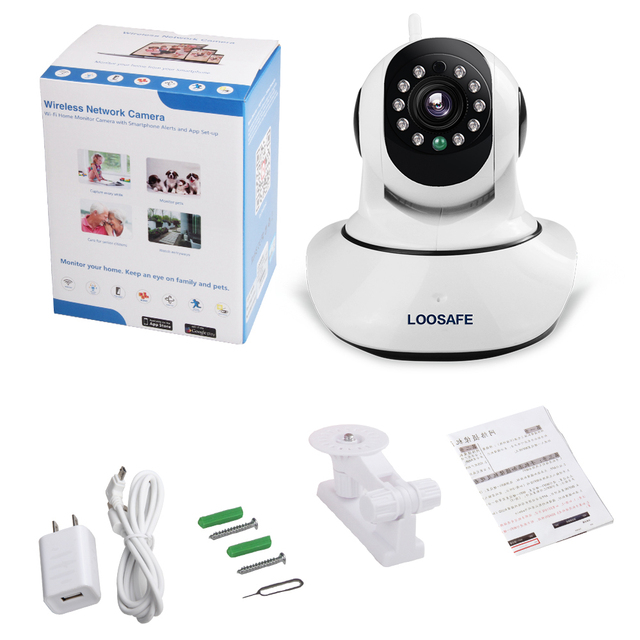 LOOSAFE HD 960P Wireless IP Camera PTZ Wifi Night Vision Camera Wifi CCTV IP Camera Network Security Camera P2P Mobile Remote