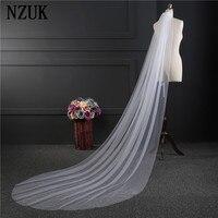 NZUK Free Shipping Real Photos 3M White Ivory Wedding Veil One Layer Long Bridal Veil Head