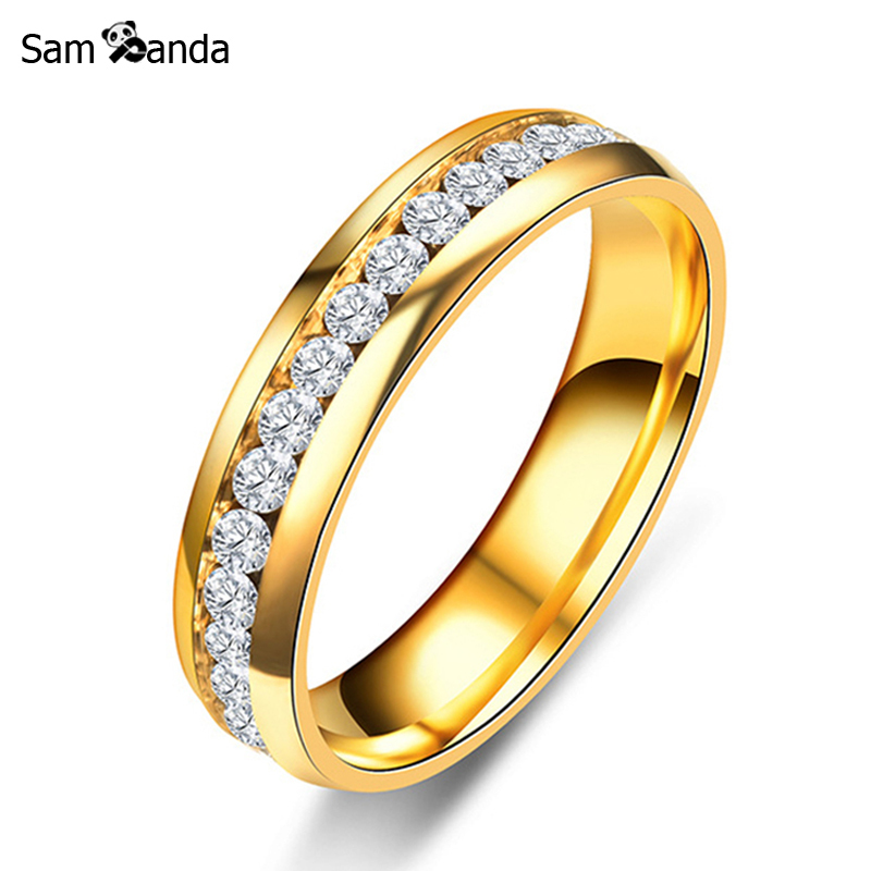 Новый золотой Цвет 316L Кольца из нержавейки Титан Сталь Обручение Свадебные Кольца для Для женщин Для мужчин Jewelry anillos sa924