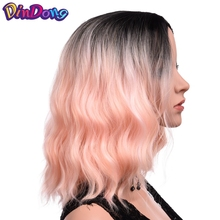DinDong Short Curly Full Head Synthetic Wigs Ombre Pink Red Blue Wigs