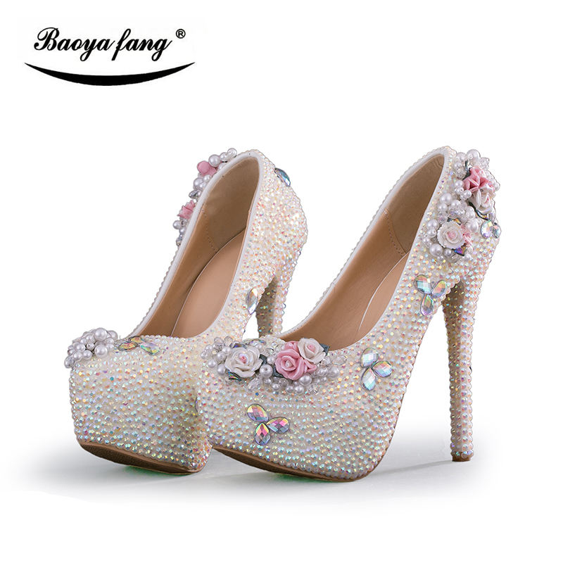 все цены на Multicolor Crystal Flower Wedding shoes Bride high heels platform shoes women fashion Party dress shoes woman New arrival shoes