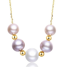 100% Real 18K Yellow Gold Natural Cultured Freshwater Female Pearl Necklace for Women Wedding Link Chain Fine Jewelry Wholesale 2018 18k yellow gold natural cultured freshwater pearl bracelet wholesale real pearl gold bracelet for women party jewelry