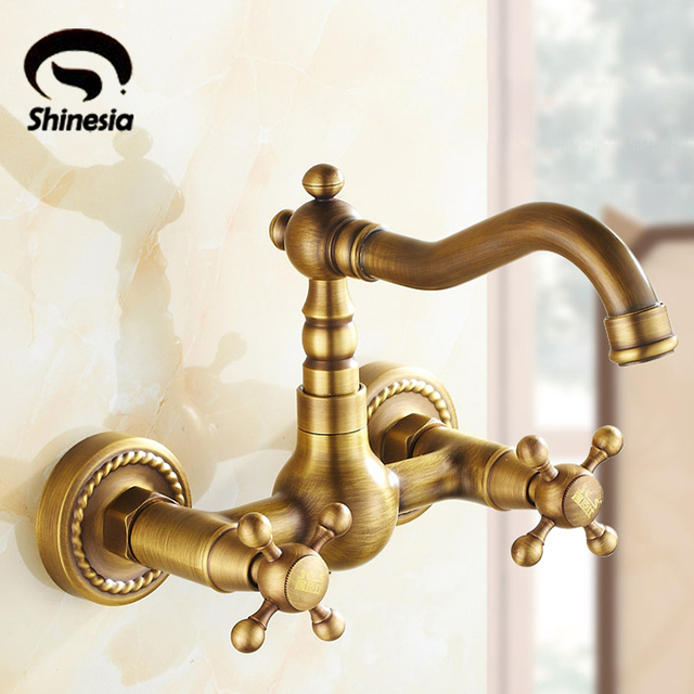 US Free Shipping Antique Brass Kitchen Sink Vessel Faucet Mixer Tap Dual  Handles Dual Holes Wall