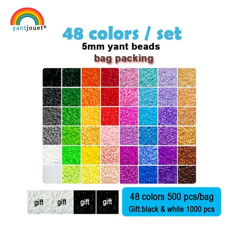 Yantjouet 5mm Yant Kralen kit 48 kleur/set OPP Zak Zwart Wit voor Kid Hama Perler Kraal Diy puzzels Hoge Kwaliteit Gift kinderen Speelgoed-in Puzzels van Speelgoed & Hobbies op  Groep 1
