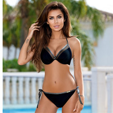 Push Up 2018 Hot Bordered Bikini Set  Women Swimwear Sexy Padded Swimsuit Summer Womens Swimming Suit Beachwear