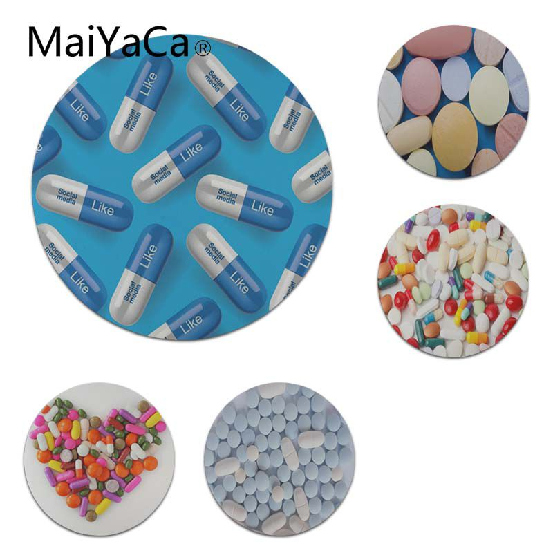 MaiYaCa Boy Gift Pad Colorful Pills Round Mouse pad PC Computer mat Size for 20x20cm 22x22cm Professional Gaming Mouse Pad