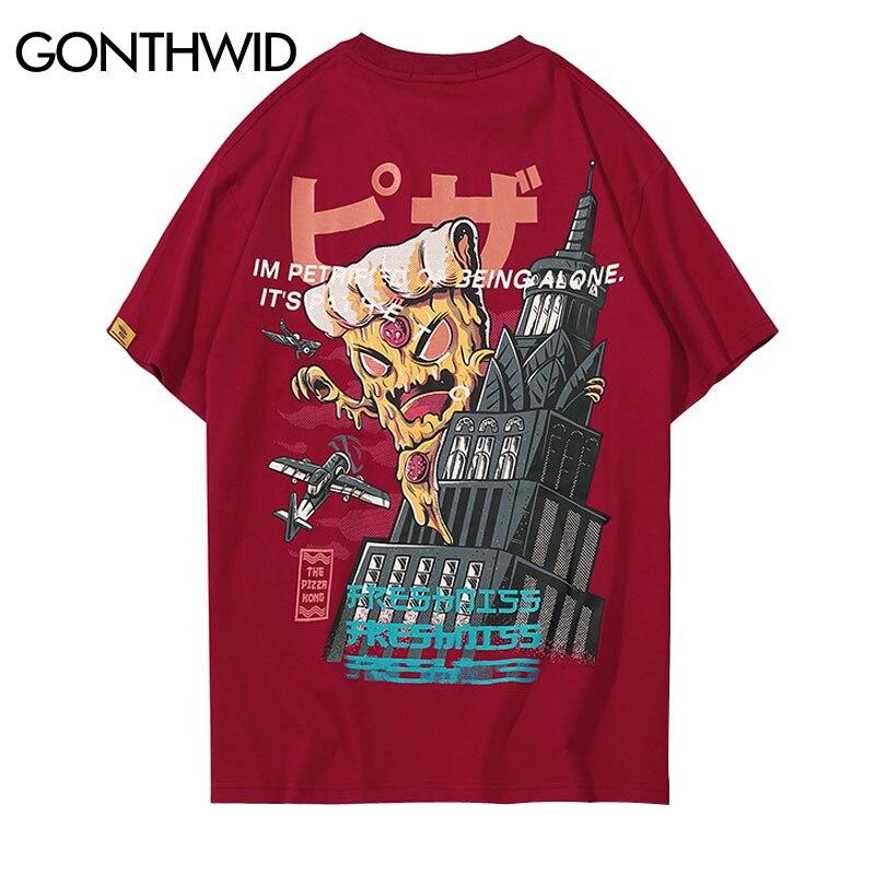 GONTHWID Creative Cartoon Tower Printed Short Sleeve T-Shirt 2018 Hip Hop Fashion Streetwear Tshirts Men Casual Cotton Tops Tees