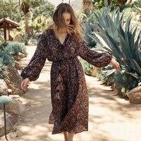 Khale Yose Spring Ethnic Maxi Dress Long Sleeve Loose Floral Print Boho Dress Women Beach Dresses