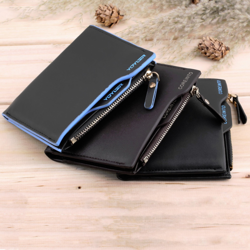 Worldwide Men's Faux Leather ID Credit Card holder Bifold Coin Purse Wallet Pockets Men Wallets mens wallets black cowhide real genuine leather wallet bifold clutch coin short purse pouch id card dollar holder for gift