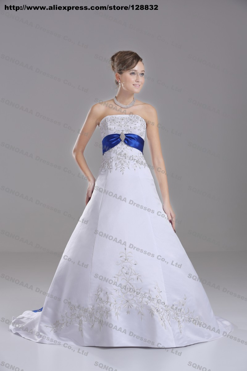 Discount Silver Embroidery White Royal Blue Stain A line Wedding ...