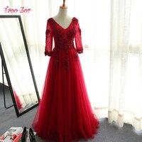 TaooZor Burgundy V Neck Robes De Mariee Vintage Lace Up Wedding Dresses 2017 Half Sleeve Beaded