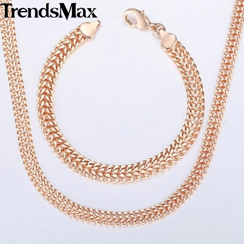 Men Women s Jewelry Set 585 Rose Gold Bracelet Necklace Set Double Curb Cuban Weaving Bismark