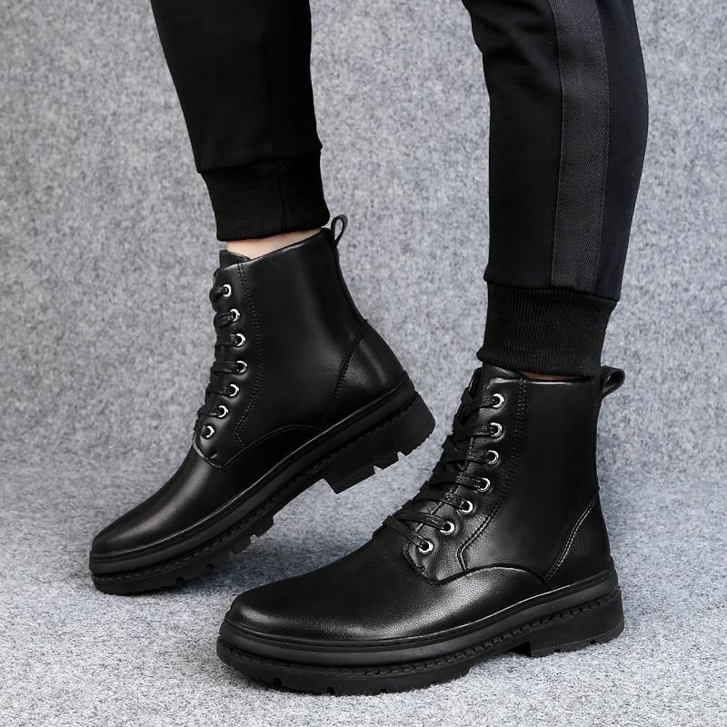 1 Alta Com E Confortável 2 black Inverno Genuíno Dengkelai Fur Quente black Sapatos De Couro Homens Qualidade 1 Botas Pele Moda With Black FOaqwvY