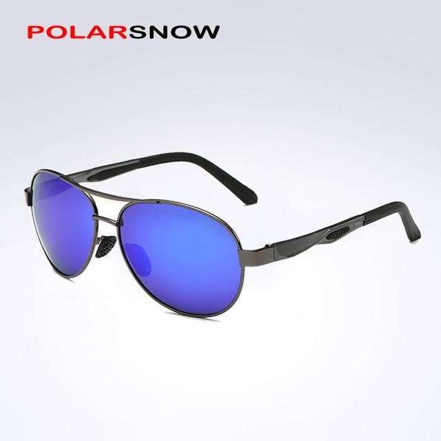 Espelhos POLARSNOW Homens Lente Polarizada Óculos De Sol de Alumínio E Magnésio Masculinos Clássicos Óculos de Sol Óculos de Condução Do Vintage Acessórios