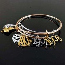 721f7bc81 Drop shipping Alpha Kap Alpha Charm Bangle AKA letter 1908 charm bangle for sister  gift Jewelry Sorority Bracelet