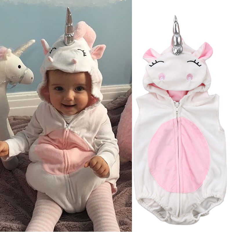 Cute Toddler Newborn Baby Girls Unicorn Fleece Romper Jumpsuit Hooded One-Pieces Jumper Outfits Costume puseky 2017 infant romper baby boys girls jumpsuit newborn bebe clothing hooded toddler baby clothes cute panda romper costumes