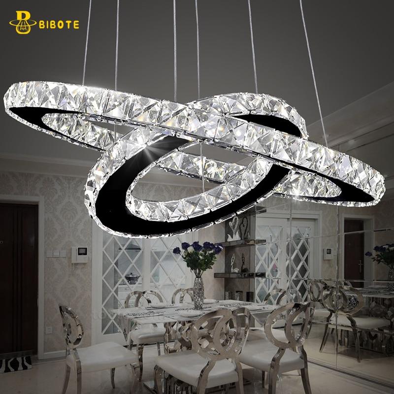Modern LED Crystal Ring Chandelier Lighting Stainless Steel Chandeliers Ceiling For Living Room Bedroom Kitchen Cristal Lustre