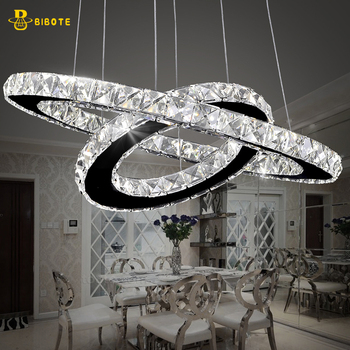 Modern LED Crystal Ring Chandelier Lighting Stainless Steel Chandeliers Ceiling For Living Room Bedroom Kitchen Cristal Lustre