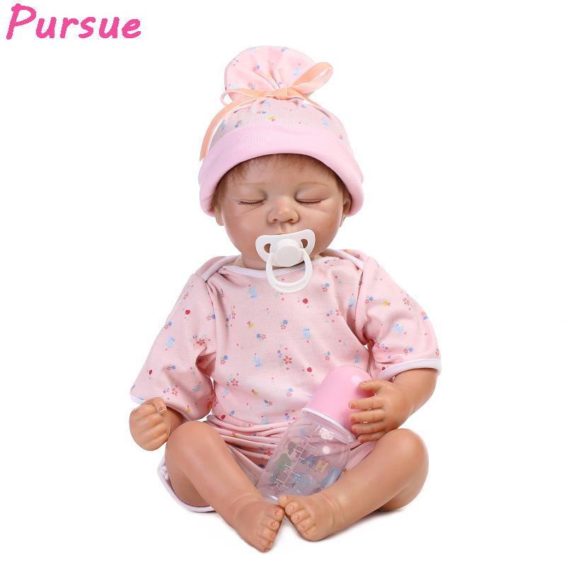 Pursue 20 inch/53cm New Chinese Baby Sleeping Reborn Babies Doll Girls Toys Silicone Dolls Reborn bebe reborn menina de silicone pursue blue eyes princess reborn 55cm silicone baby dolls adora doll for girls kids bebe reborn menina de silicone reborn babies