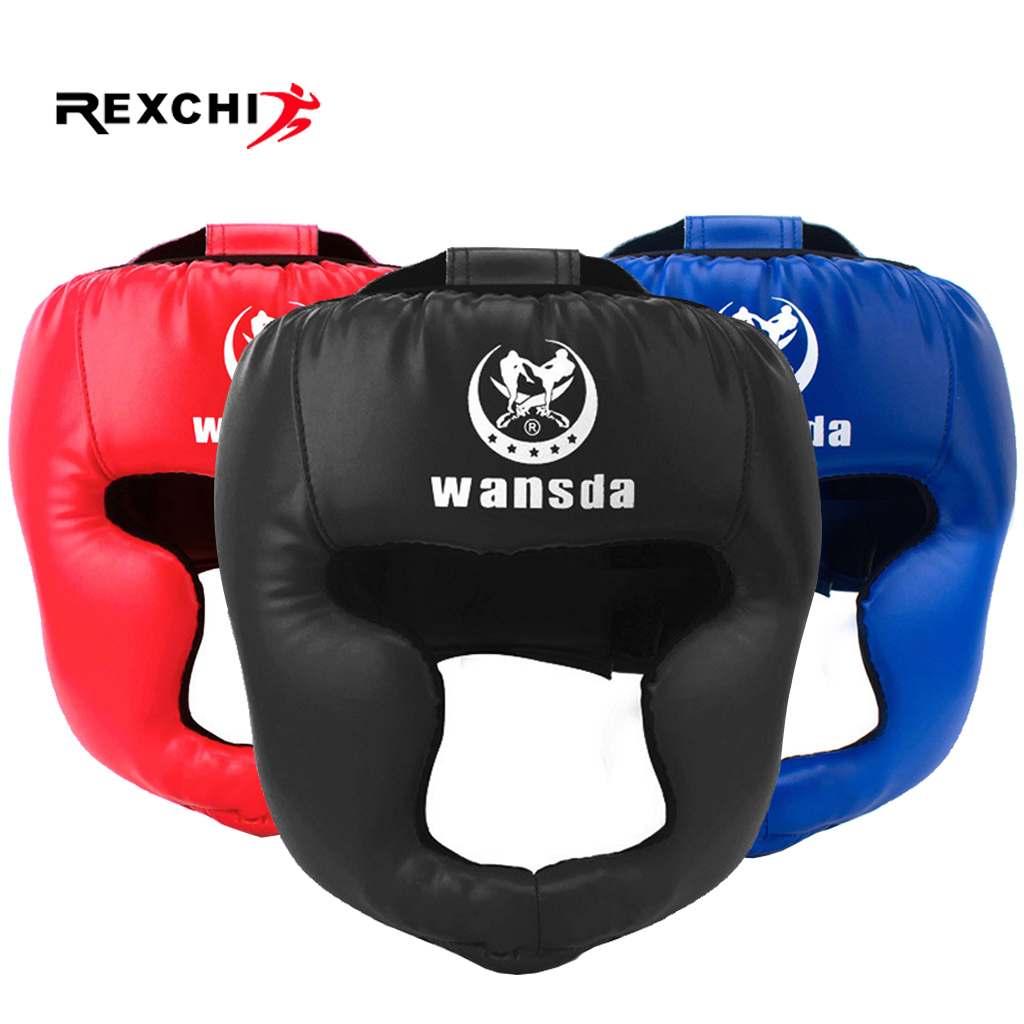 REXCHI Kick Boxing Helmet For Men Women PU Karate Muay Thai Guantes De Boxeo Free Fight MMA Sanda Training Adults Kids Equipment