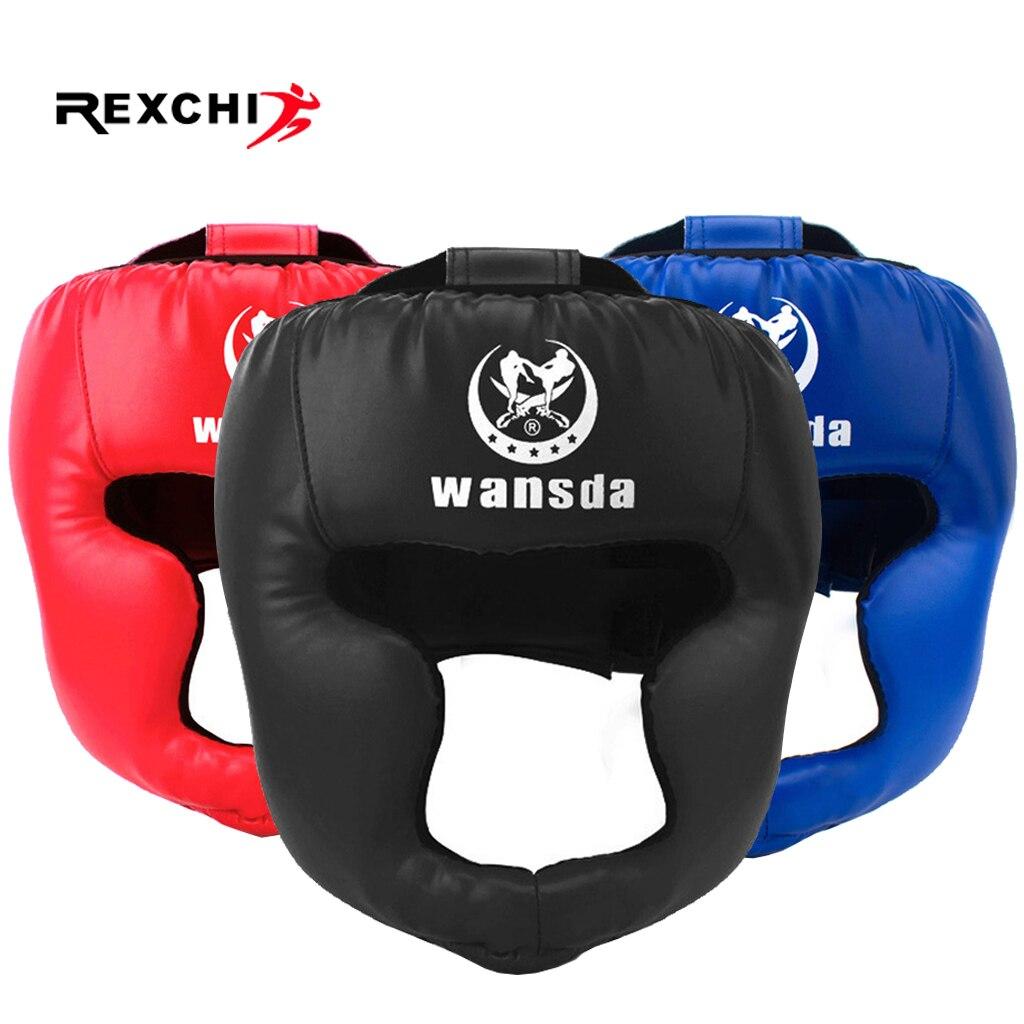 REXCHI Kick Boxing casco para hombres mujeres PU Karate guantes De Muay Thai De Boxeo Lucha Libre MMA Sanda entrenamiento adultos niños equipo