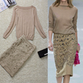 Fashion women's thin knitted embroidered lace tee top+skirt twinset skirt set formal women lady autumn wear WD959