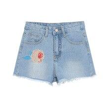 2017 Новый Женский Лето Шорты Роза Цветочной Вышивкой Джинсовые Шорты Ripped Завышенной Талией короткие джинсы L0051
