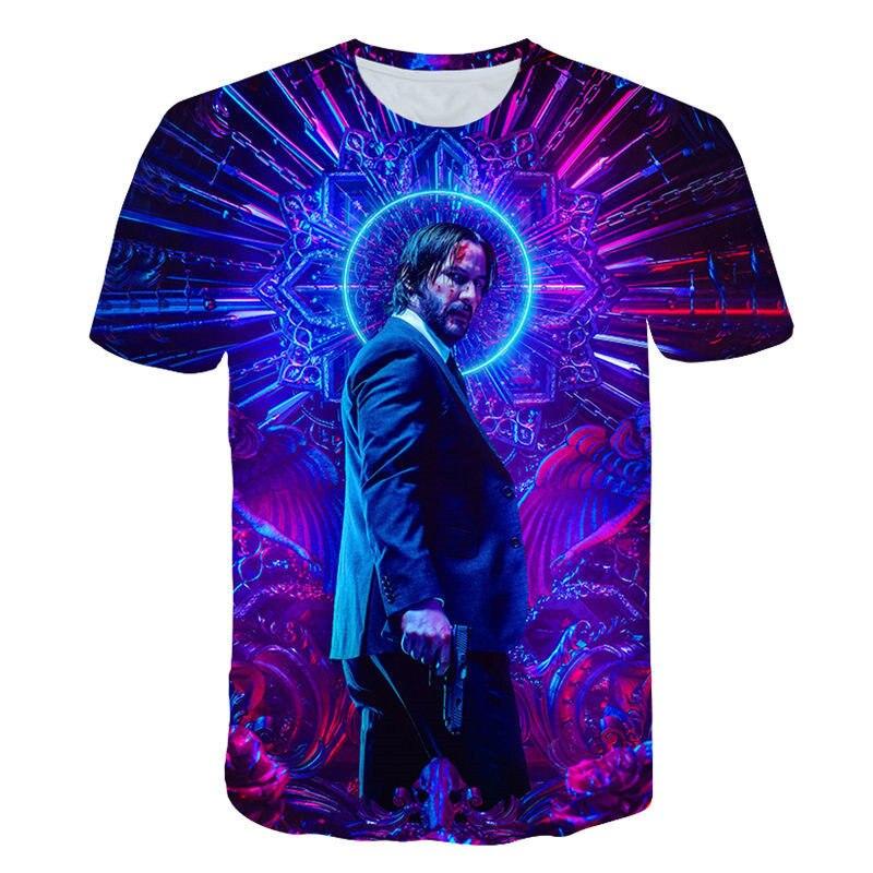 T-Shirt John John Wick Pavio o Boogie Man Filme 3d impressão: capítulo 3-Assassino Do Keanu Reeves Parabellum tshirt o-pescoço curto