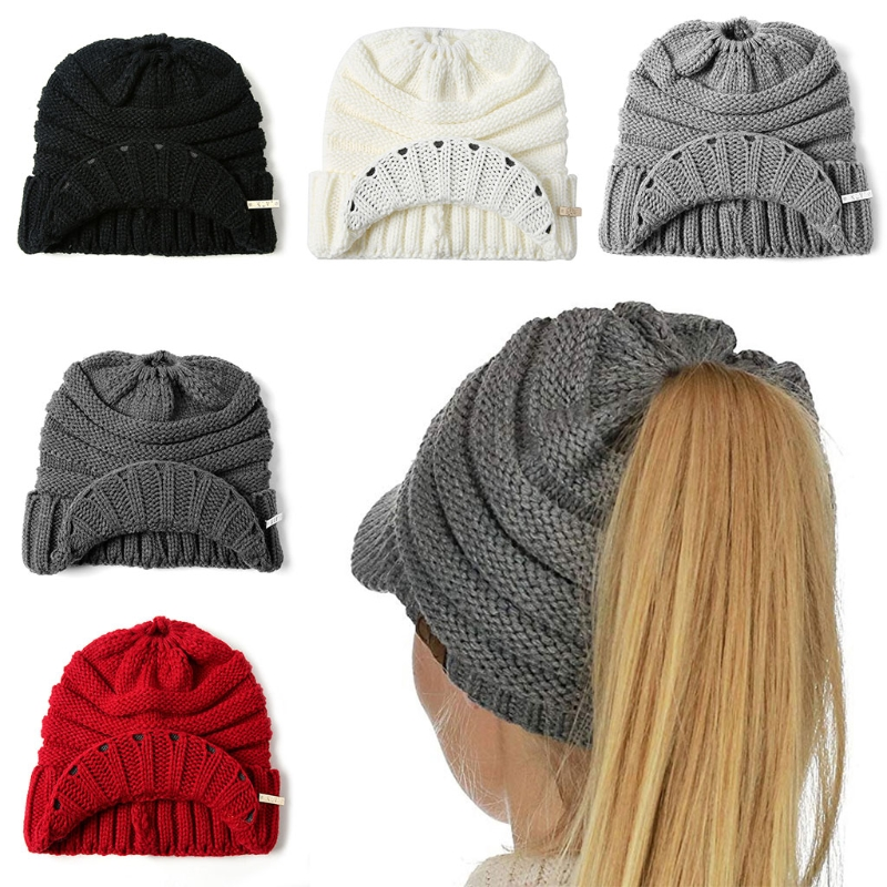 Detail Feedback Questions about Fashion New Women Girls Winter Ribbed  Knitted Hat Lady Female Casual Open Top Ponytail Visor Beanies Cap Stretch  Warm on ... f5cbf0aaca0