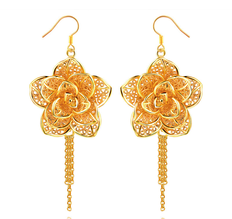New arrival 2013 long design gold flower cutout earrings fashion ...