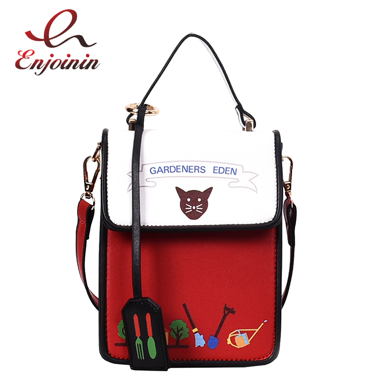 Black & Red Cat Cartoon Pattern Pu Leather Casual Fashion Mini Shoulder Bag Tote Crossbody Mini Messenger Bag Femal Purse Flap shoulder bag
